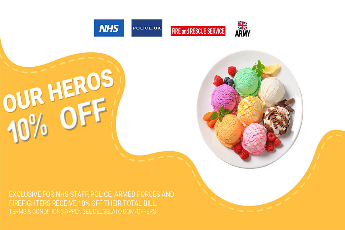 del gelato nhs, police, army and firefighters 10% off discount